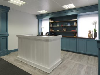 Newly refurbished blue reception in Mayfair office