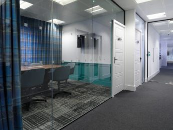New modern office fit out with glass meeting room