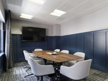 Smartly coloured blue office meeting room in Mayfair