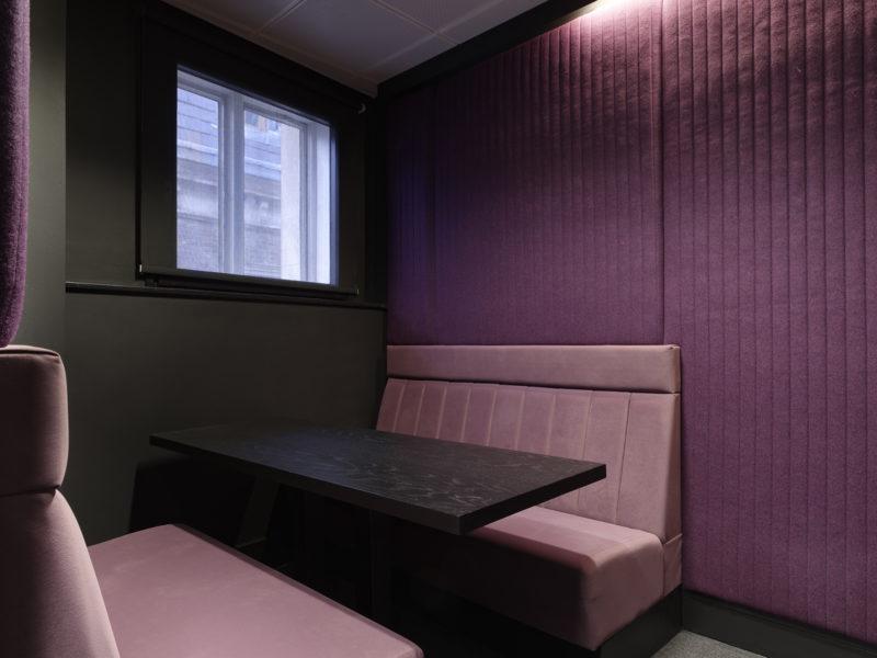 Purple breakout room in Mayfair office