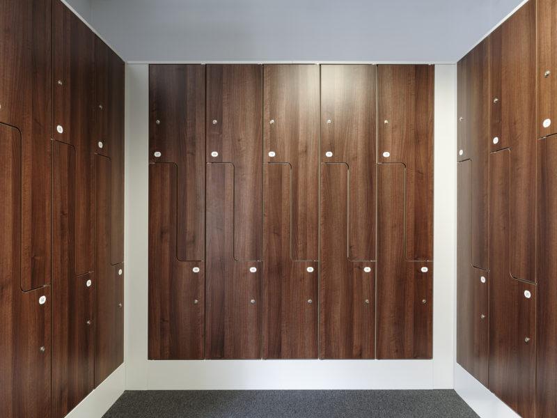 Shining new locker room in beautifully decorated Mayfair office