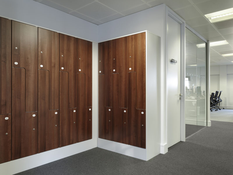 Newly fitted out locker room in Mayfair office
