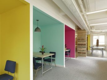 Brightly coloured refurbished London office meeting areas