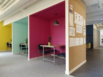 Colourfully refurbished office booths in London
