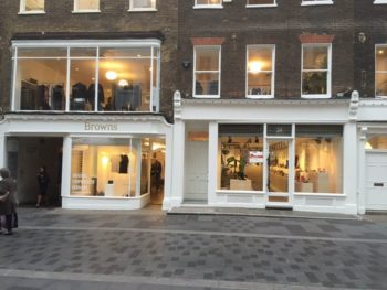 Newly refurbished Browns shop front in Mayfair