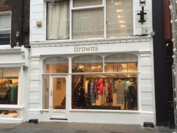 Beautifully restored shop front, Browns, Mayfair