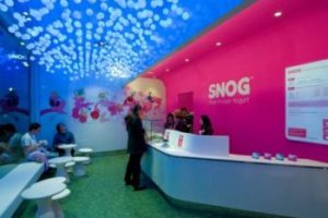 Interior of Snog, with pink wall and blue ceiling