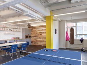 Yoyo Wallet offices with ping pong table and kitchen