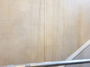 Water damaged mural wall in listed building