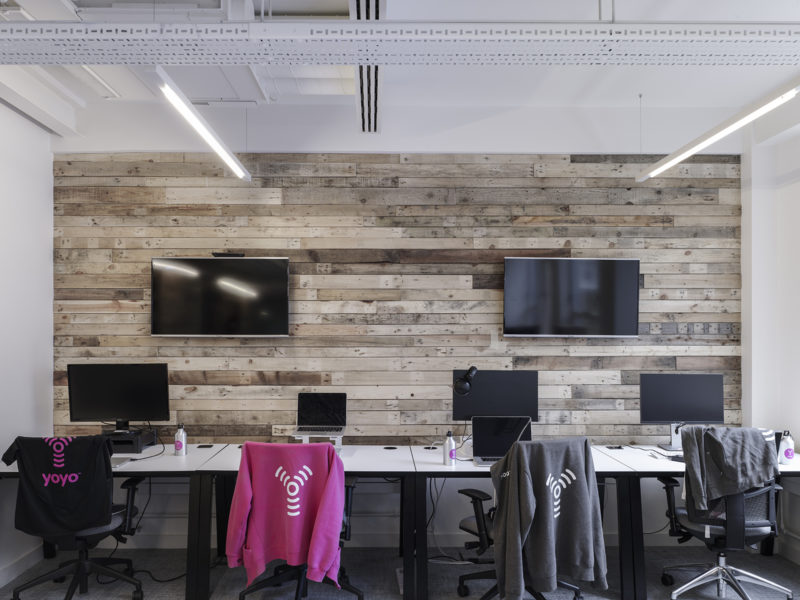Wood panelling within an office.