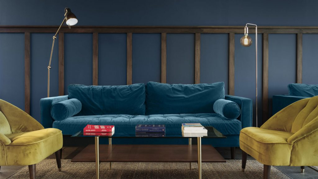 Comfy sofas within an office space.